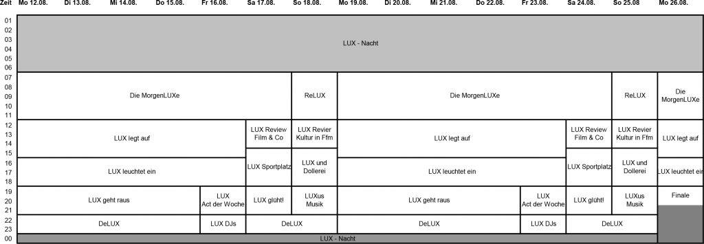 LUX Programmschema 2019